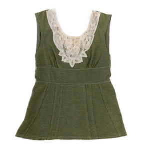 Free People Olive Tunic w/Crotchet Trim Neckline
